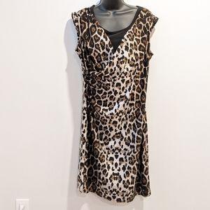 Impress! Cheetah print faux wrap dress